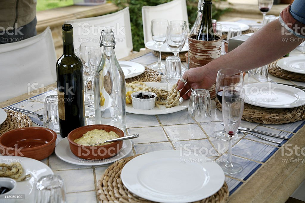 Outdoor Lunch setting stock photo
