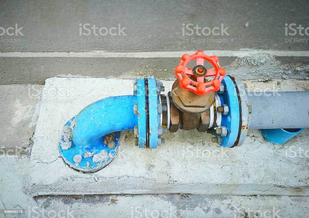 Outdoor Main Water Shutoff Valve System Stock Photo More Pictures Of Blue Istock