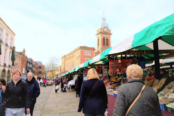 Outdoor market, Chesterfield, Derbyshire. stock photo