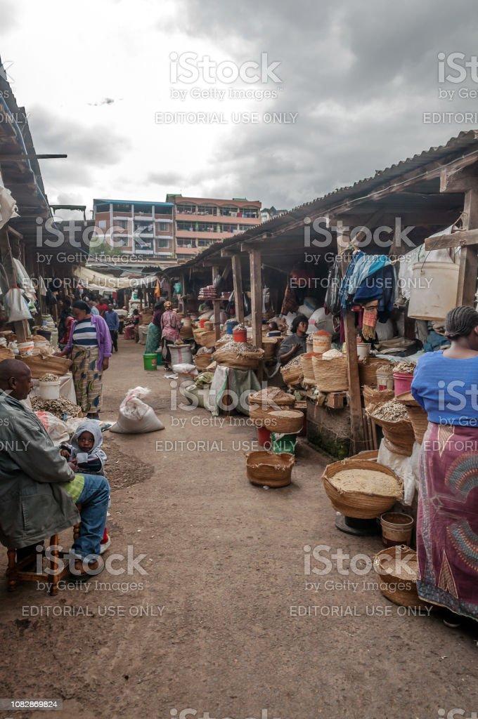 Typical street scene in Arusha. Arusha is located below Mount Meru in...