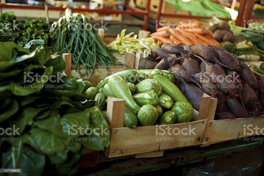 outdoor market with fresh vegetables in Wooden Food Crates royalty-free stock photo