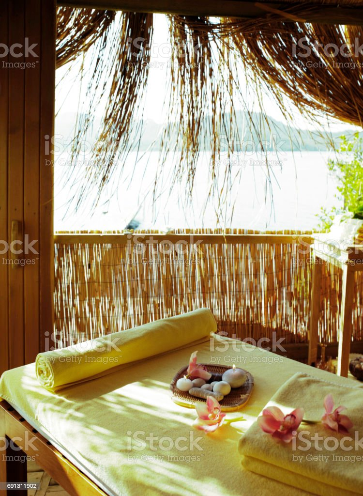 outdoor massage bed stock photo