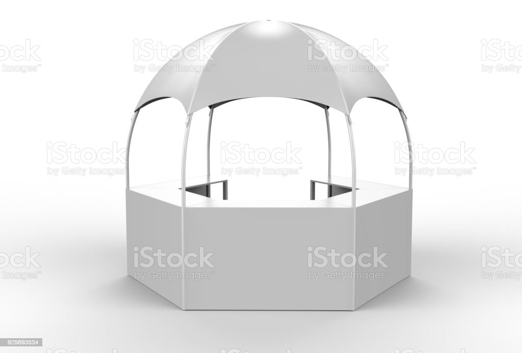 Outdoor Multi functional Trade Show Display Dome Kiosk Hexagonal Pavilion Canopy Tent With Promotional Counters, 3d render illustration. stock photo