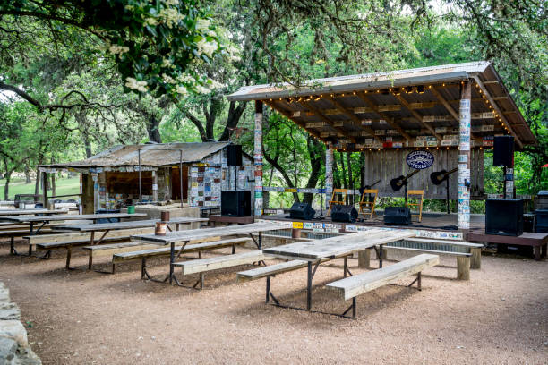 Outdoor music venue behind the old post office in Luckenbach Texas. stock photo