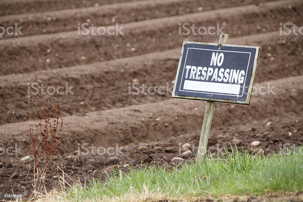 Outdoor No Trespassing Posting stock photo