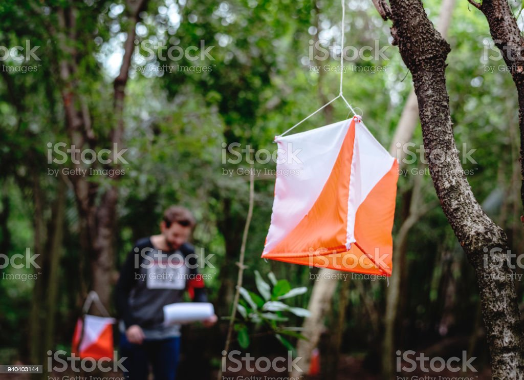 Outdoor orienteering check point activity stock photo