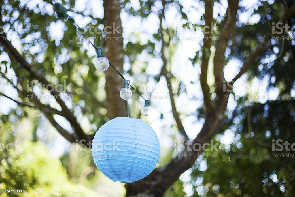 Outdoor Party Garden Hanging Lights and Decoration Lamp stock photo