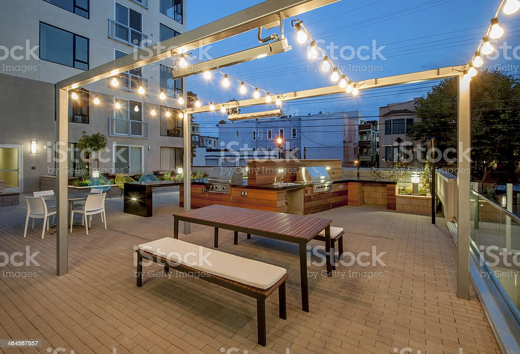 Outdoor Patio for Apartment Building. stock photo