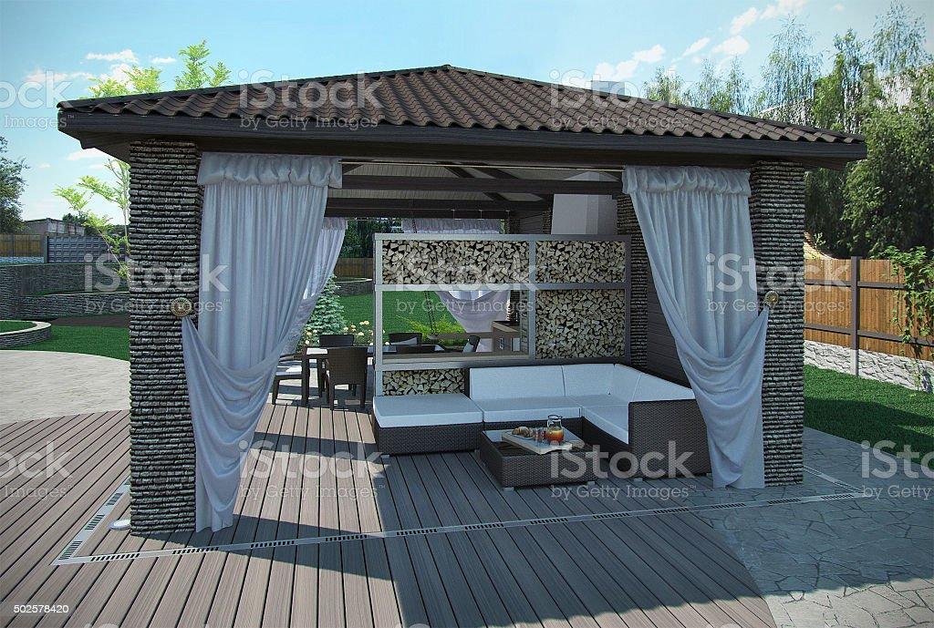 Außenpatio Garten-Pavillon, 3d render – Foto
