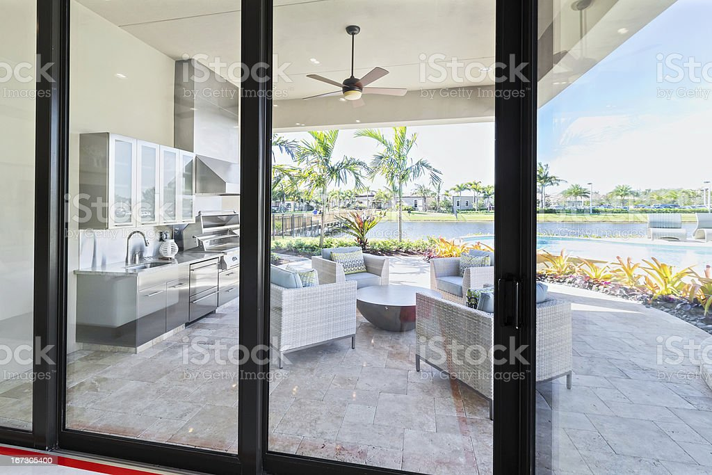 Outdoor patio kitchen luxury exterior stock photo