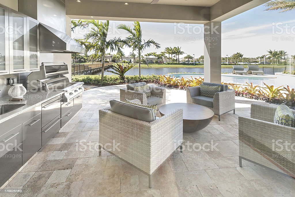 Outdoor patio kitchen luxury exterior royalty-free stock photo