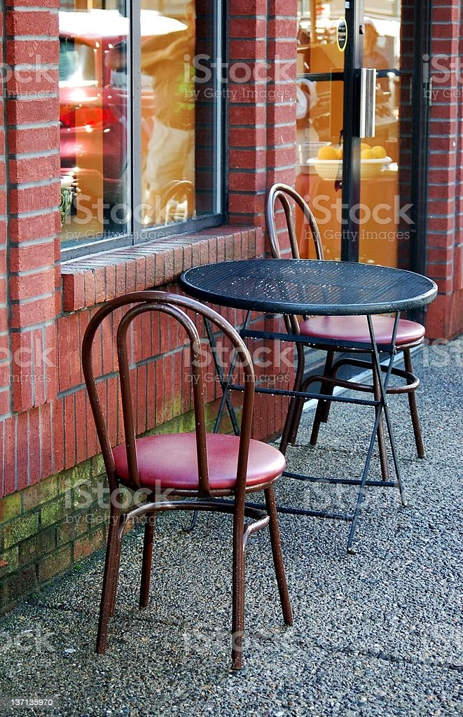 Outdoor Patio Set at Sidewalk Cafe stock photo