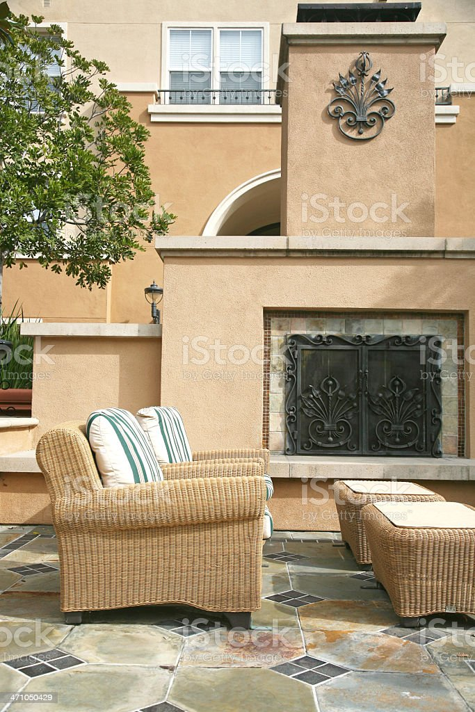 Outdoor Patio With Fireplace royalty-free stock photo