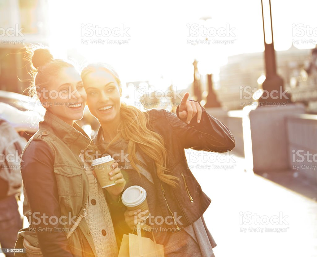 Outdoor photo of two women tourists in London royalty-free stock photo