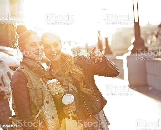Outdoor Photo Of Two Women Tourists In London Stock Photo - Download Image Now