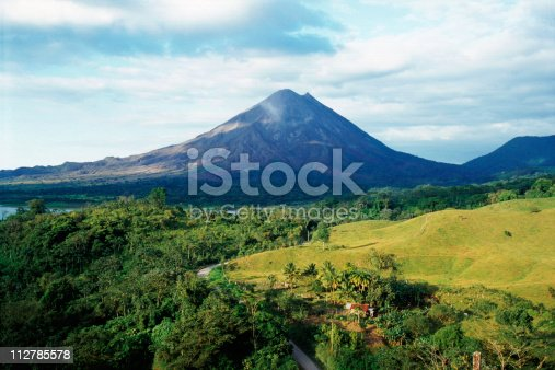 Farm land and rain forest surrounding the Arenal Volcano in Costa Rica, Central America.