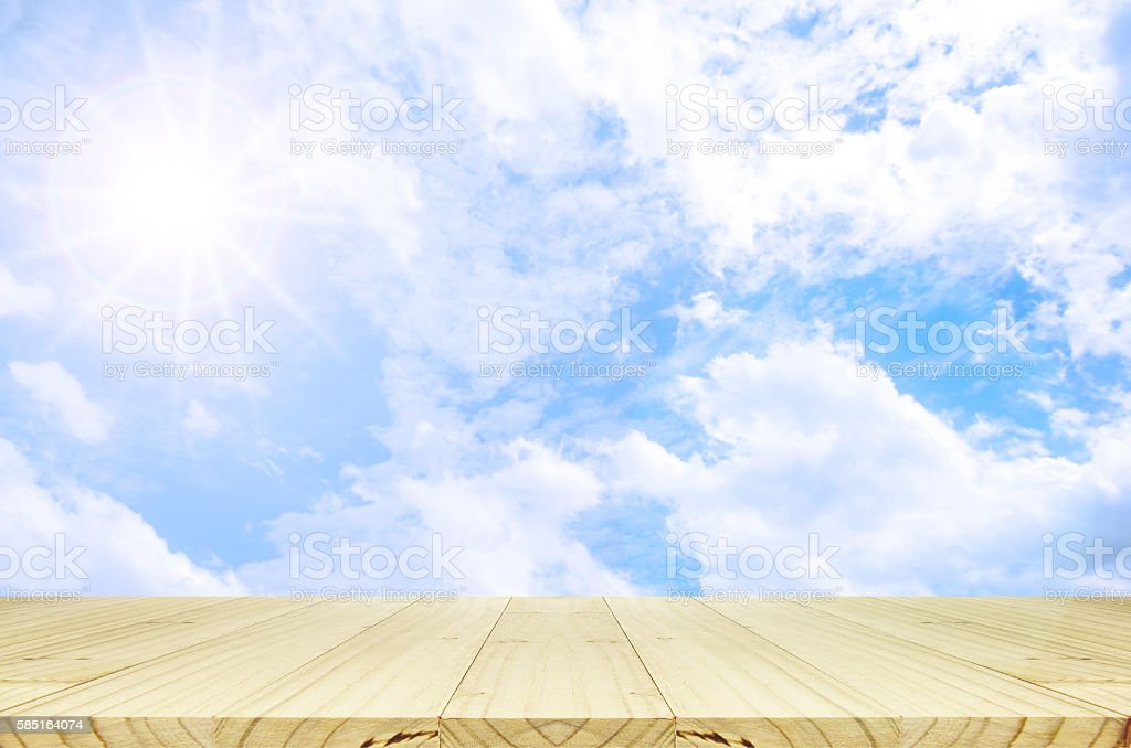 Outdoor picnic background in summer sun light. stock photo