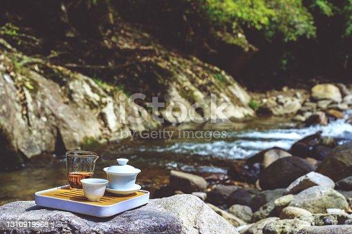 Outdoor picnic tea mountain spring water