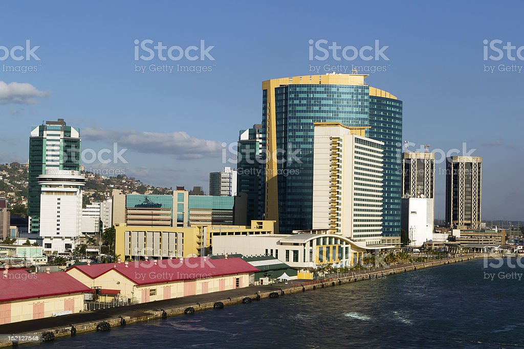 Outdoor picture of Trinidad coast and skyscraper stock photo