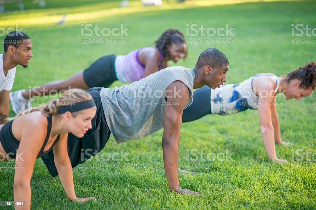 Outdoor Plank Workout stock photo