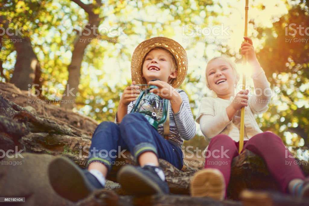 Outdoor play is important to a child's development stock photo