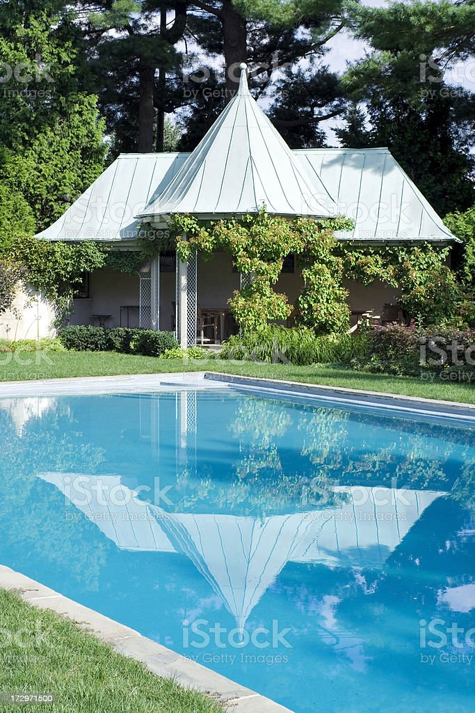 Outdoor Pool With Gazebo Stock Photo - Download Image Now