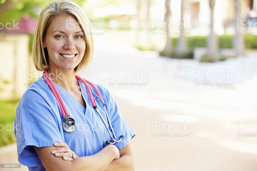 Outdoor Portrait Female Nurse stock photo