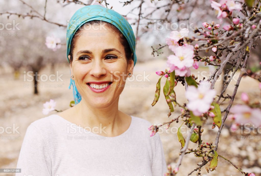 Outdoor portrait of 40 years old woman stock photo