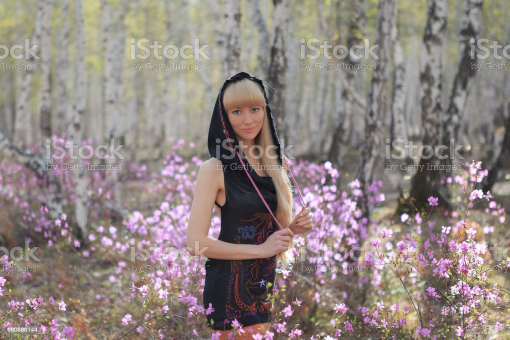 outdoor portrait of a beautiful middle aged blonde woman. royalty-free stock photo