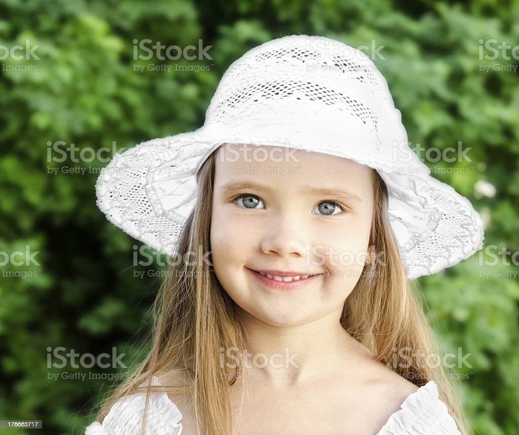 Outdoor portrait of adorable smiling little girl royalty-free stock photo