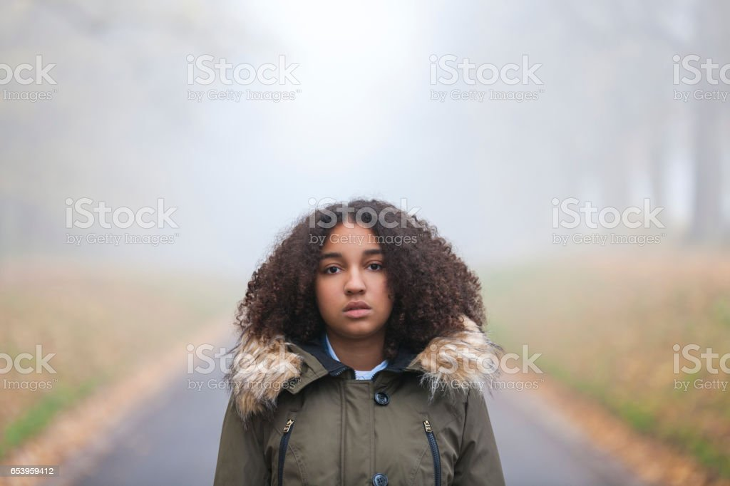 Outdoor portrait of beautiful mixed race African American girl teenager female child outside in a park on foggy day stock photo