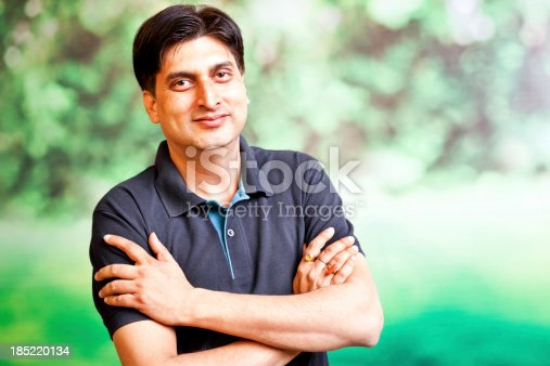 1165538246 istock photo Outdoor Portrait of Casual Urban Indian Cheerful Mid Adult Male 185220134