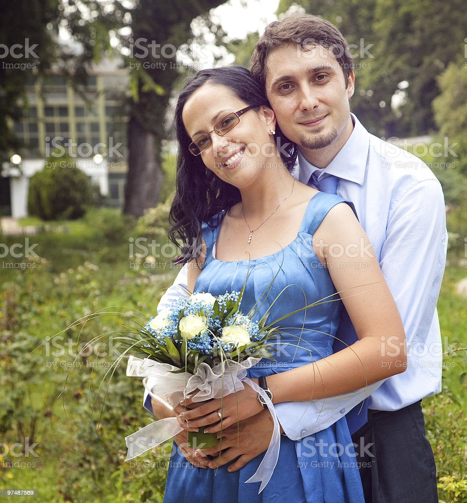 Outdoor portrait of happy content couple royalty-free stock photo
