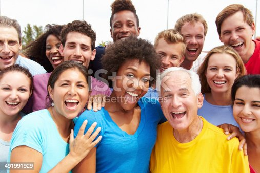istock Outdoor Portrait Of Multi-Ethnic Crowd 491991929