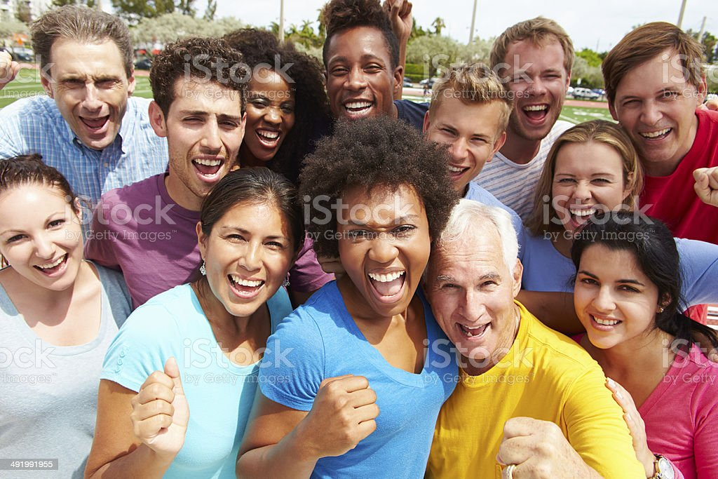 Outdoor Portrait Of Multi-Ethnic Crowd stock photo