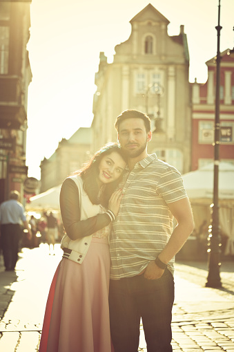 Outdoor Portrait Of Young Couple In The City At Sunset Stock Photo - Download Image Now