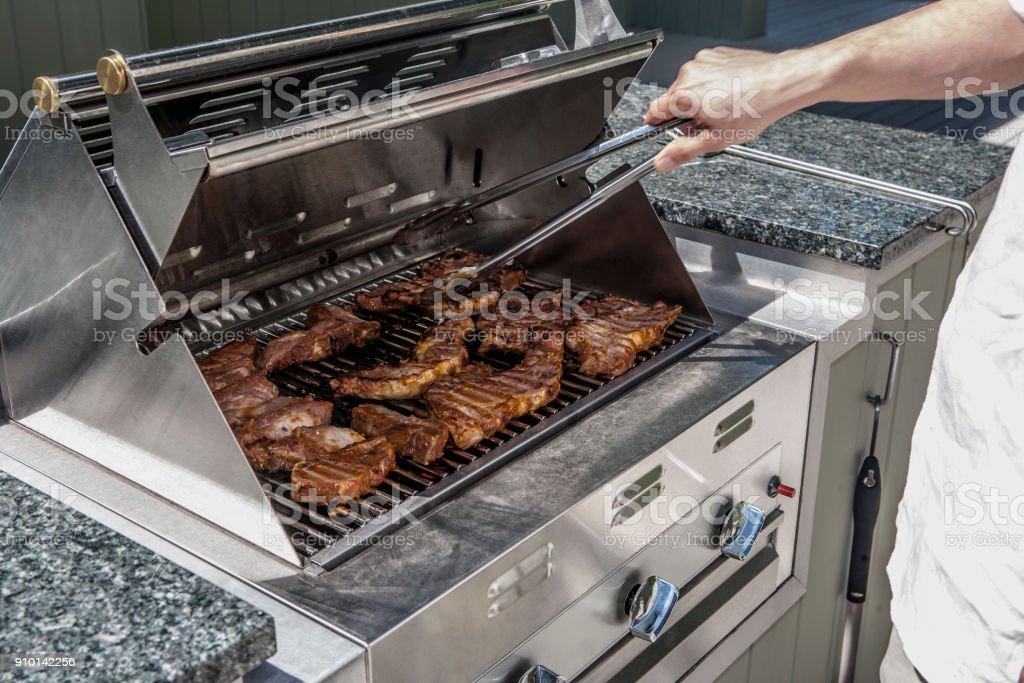 outdoor propane gas grill stock photo
