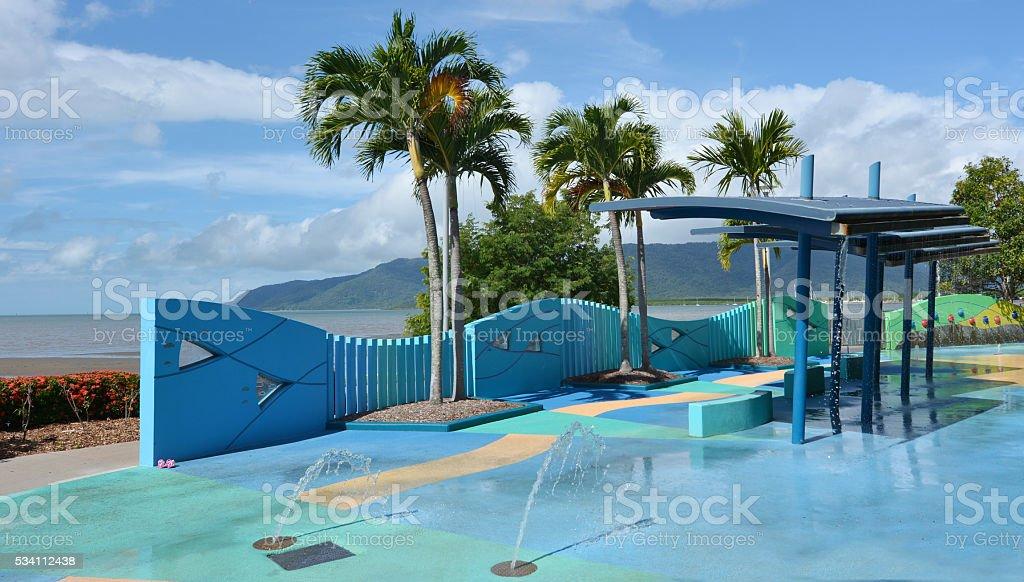 Outdoor public water park at Cairns Esplanade in Queensland Aust stock photo