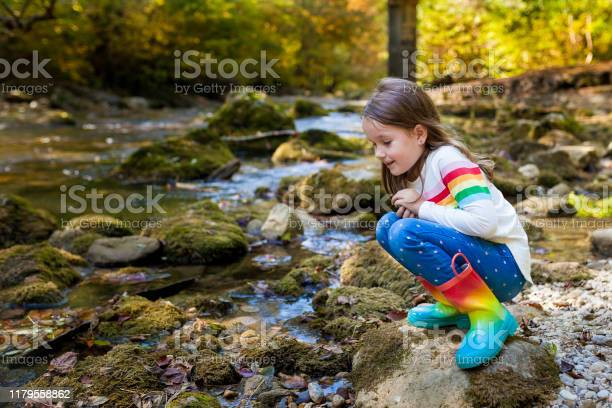 Photo of Outdoor recreation and awesome adventures with kids. A little child girl is walking along a green river in the forest in rubber boots on a warm autumn day.  exploring nature, travel, family vacation.