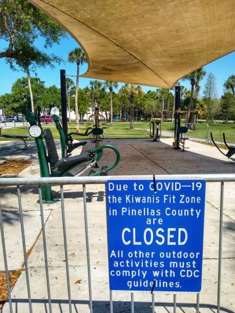Outdoor recreation closed Covid 19 stock photo