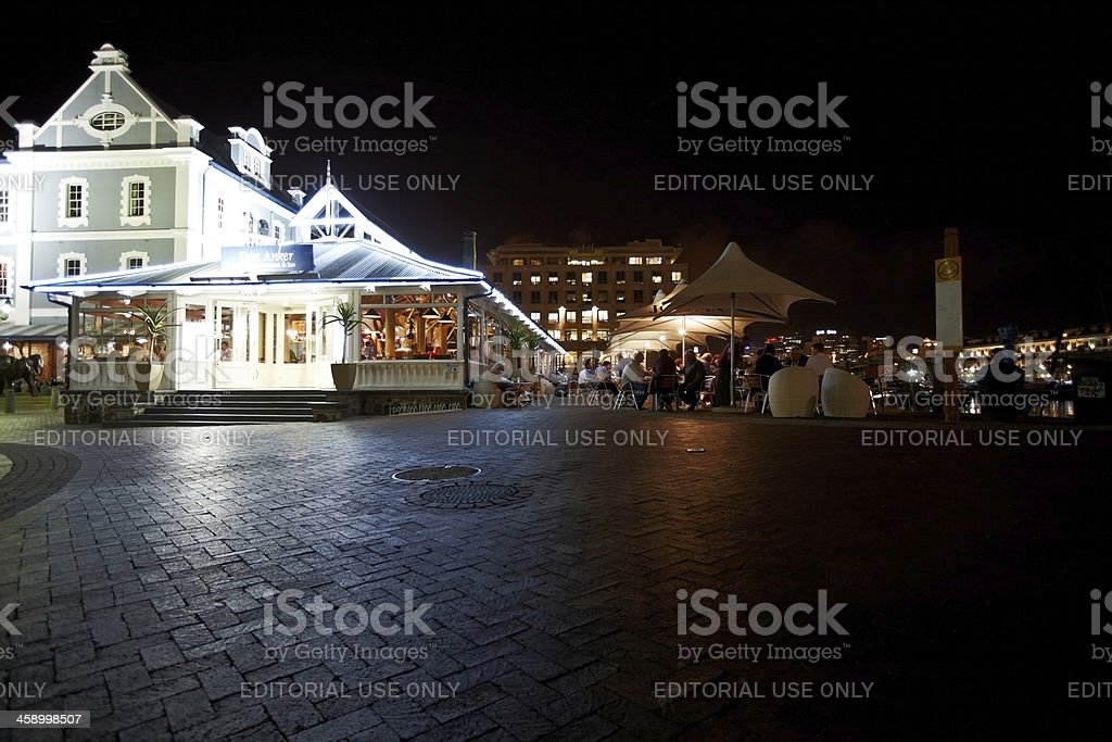 Outdoor restaurant area at the V&A Waterfront in Cape Town stock photo