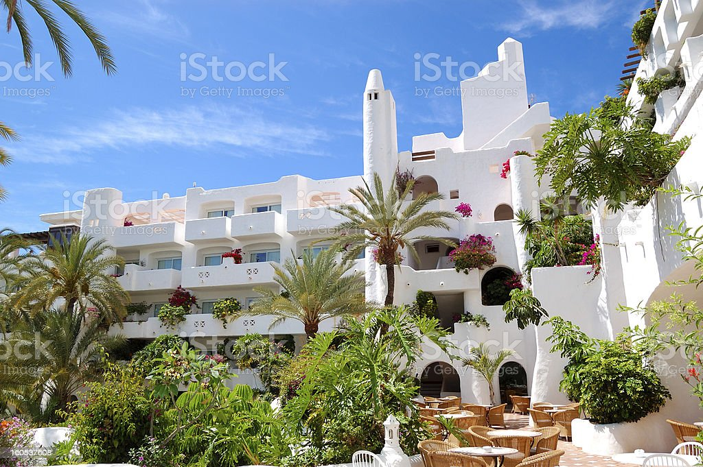 Outdoor restaurant at luxury hotel, Tenerife island, Spain royalty-free stock photo