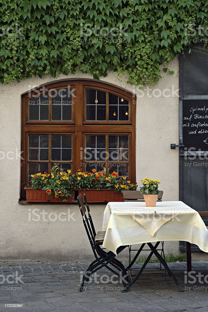 Outdoor Restaurant in Munich, Germany royalty-free stock photo