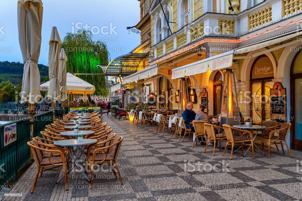 Outdoor restaurant in Prague. stock photo