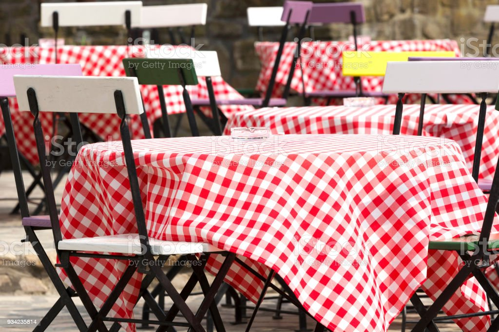 Outdoor restaurant in springtime, Hungary stock photo