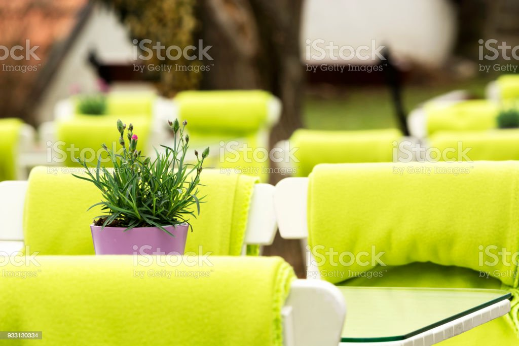Outdoor restaurant in springtime stock photo