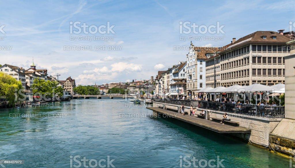 Outdoor restaurant on River Limmat in Zurich stock photo