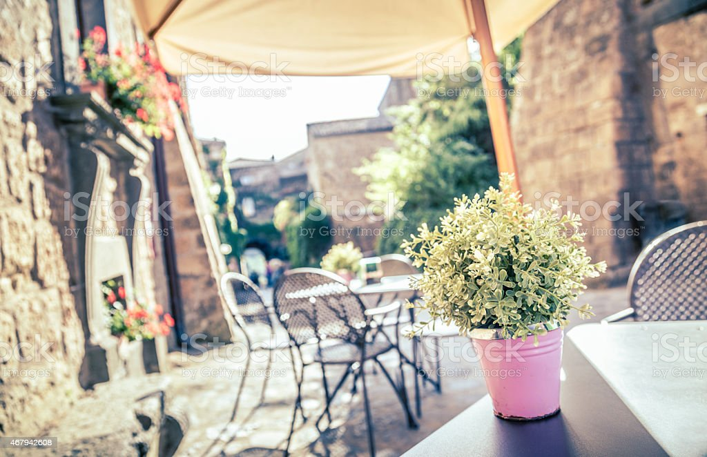 Outdoor Retro Cafe Style Seating On Old European Street Royalty Free Stock Photo