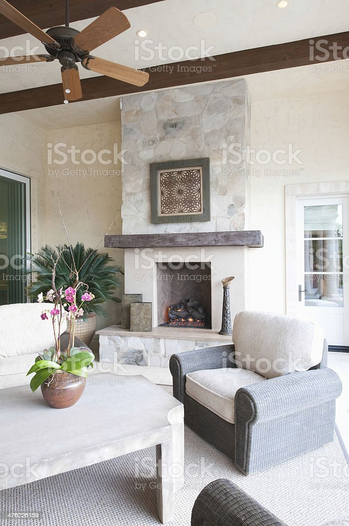 Outdoor Room With Fireplace stock photo