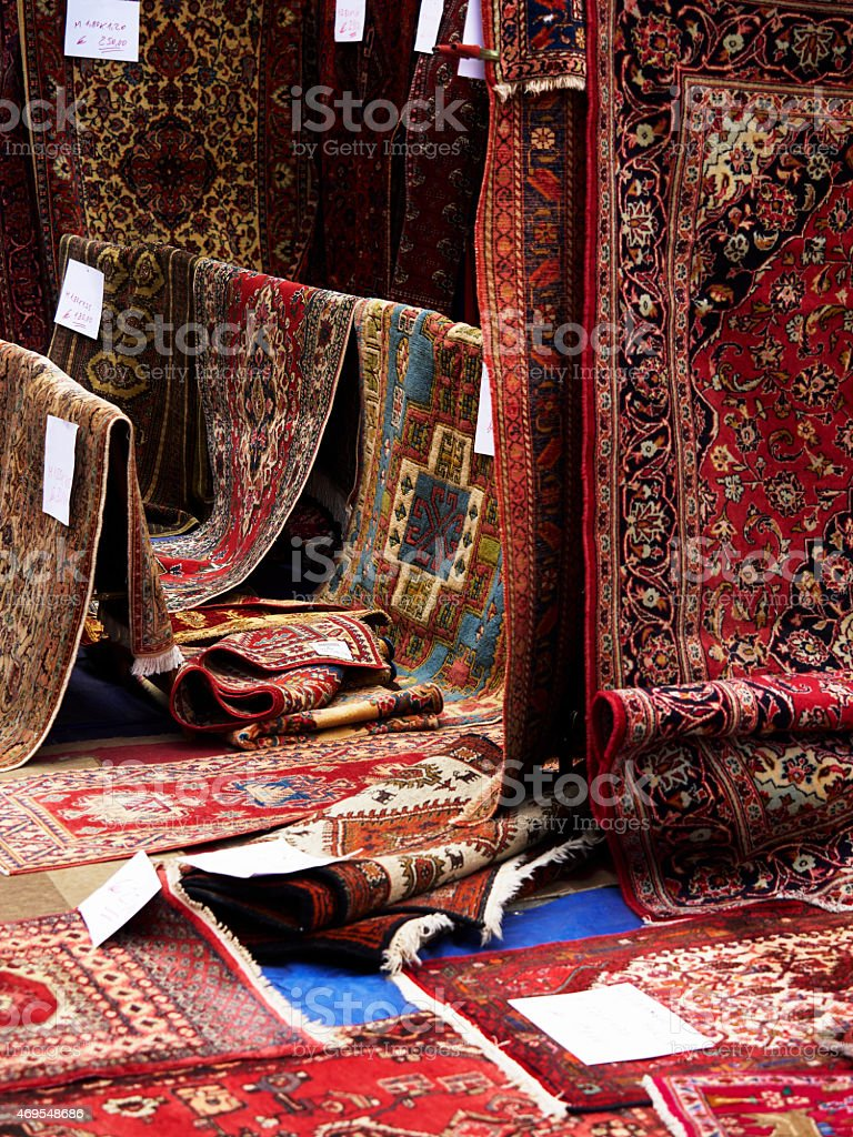 Outdoor rug store. Color Image stock photo